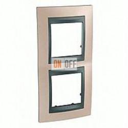 Рамка двойная, для вертик. монтажа Schneider Unica TOP оникс-графит MGU66.004V.296