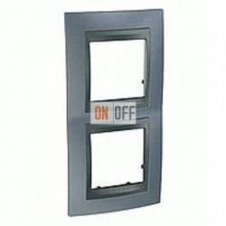 Рамка двойная, для вертик. монтажа Schneider Unica TOP грей-графит MGU66.004V.297