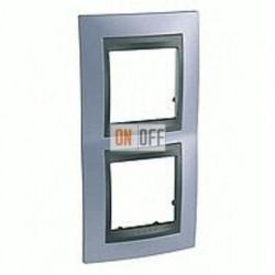 Рамка двойная, для вертик. монтажа Schneider Unica TOP берилл-графит MGU66.004V.298