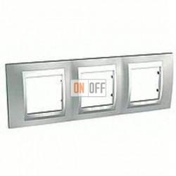 Рамка тройная, для горизонт. монтажа Schneider Unica TOP хром матовый-алюминий MGU66.006.038