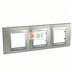 Рамка тройная, для горизонт. монтажа Schneider Unica TOP никель-алюминий MGU66.006.039