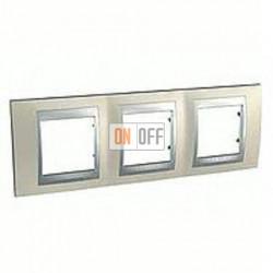 Рамка тройная, для горизонт. монтажа Schneider Unica TOP опал-алюминий MGU66.006.095