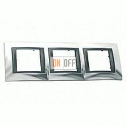 Рамка тройная, для горизонт. монтажа Schneider Unica TOP хром-графит MGU66.006.210