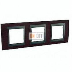 Рамка тройная, для горизонт. монтажа Schneider Unica TOP венге - графит MGU66.006.2M3