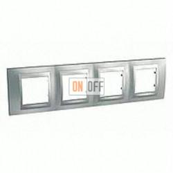 Рамка четверная, для горизонт. монтажа Schneider Unica TOP хром матовый-алюминий MGU66.008.038
