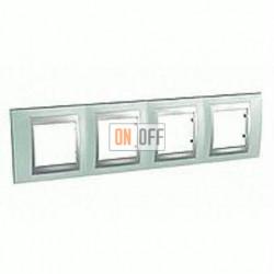 Рамка четверная, для горизонт. монтажа Schneider Unica TOP флюорит-алюминий MGU66.008.094