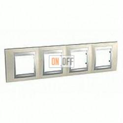 Рамка четверная, для горизонт. монтажа Schneider Unica TOP опал-алюминий MGU66.008.095