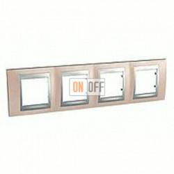 Рамка четверная, для горизонт. монтажа Schneider Unica TOP оникс-алюминий MGU66.008.096