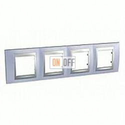 Рамка четверная, для горизонт. монтажа Schneider Unica TOP берилл-алюминий MGU66.008.098