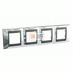 Рамка четверная, для горизонт. монтажа Schneider Unica TOP хром-графит MGU66.008.210