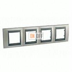 Рамка четверная, для горизонт. монтажа Schneider Unica TOP никель-графит MGU66.008.239