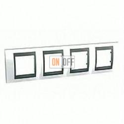 Рамка четверная, для горизонт. монтажа Schneider Unica TOP нордик-графит MGU66.008.292