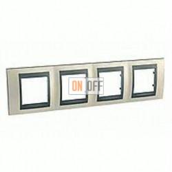 Рамка четверная, для горизонт. монтажа Schneider Unica TOP опал-графит MGU66.008.295