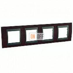 Рамка четверная, для горизонт. монтажа Schneider Unica TOP венге - графит MGU66.008.2M3