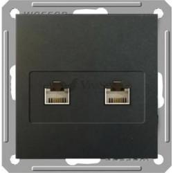 Розетка двойная телефон + компьютерная 5е (RJ11+RJ45), Schneider W59 черный бархат RSI-251TK5E-6-86