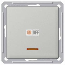 Переключатель одноклавишный с подсветкой (вкл/выкл с 2-х мест) 16 А 250 В, Schneider W59 матовый хром VS616-157-5-86