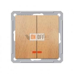 Выключатель двухклавишный с подсветкой 16 А 250 В, Schneider W59 бук VS516-251-8-86