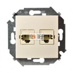 Розетка телефонная двойная RJ11, слоновая кость 1591589-031