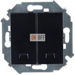 Двухклавишный выключатель Simon 15 с подсветкой (чёрный) 1591392-032