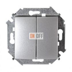 Выключатель двухклавишный Simon 15 (алюминий) 1591398-033