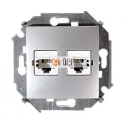 Розетка телефонная + компьютерная RJ11+RJ45 кат.5е, алюминий 1591590-033