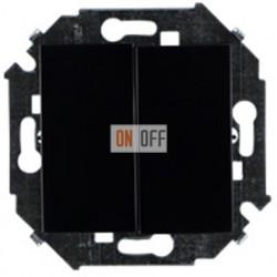 Двухклавишный проходной (с 2-х мест) выключатель Simon 15 (чёрный) 1591397-032