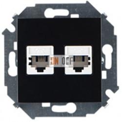 Розетка телефонная + компьютерная RJ11+RJ45 кат.5е, чёрный 1591590-032