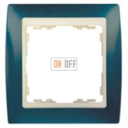 Рамка Simon 82 на 1 пост - синий металлик с бежевой вставкой 82714-64