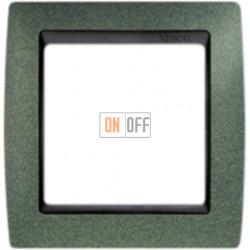 Рамка Simon 82 на 1 пост - зеленая текстура с черной вставкой 82814-65
