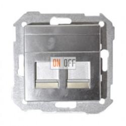Розетка копмьютерная двойная RJ45 Simon 82 (алюминий) 75540-39 - 75540-39 - 82006-33