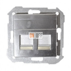 Розетка телефонная двойная RJ11 двойная Simon 82 (алюминий) 75528-39 - 75528-39 - 82006-33