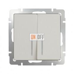 Выключатель двухклавишный проходной (из 2-х мест) с подсветкой 10 AX - 250 В, Werkel слоновая кость a030806