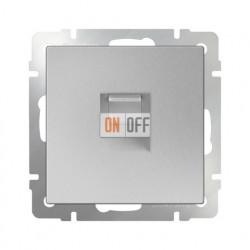 Интернет розетка одинарная 5 категории RJ-45, Werkel серебряный a029834