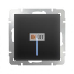 Выключатель одноклавишный проходной (из 2-х мест) с подсветкой  10 AX - 250 В, Werkel черный матовый a029868