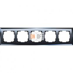 Рамка пятерная Werkel Diamant, черное стекло a030761