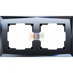 Рамка двойная Werkel Diamant, черное стекло a029844
