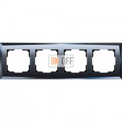 Рамка четверная Werkel Diamant, черное стекло a029846