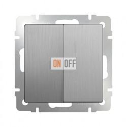 Выключатель двухклавишный 10 AX - 250 В Werkel, серебряный рифленый a035655