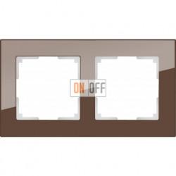 Рамка двойная Werkel Favorit, мокко стекло a031793