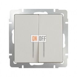 Выключатель двухклавишный с подсветкой 10 AX - 250 В, Werkel слоновая кость a030807