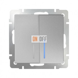 Выключатель двухклавишный проходной (из 2-х мест) с подсветкой 10 AX - 250 В, Werkel серебряный a051524