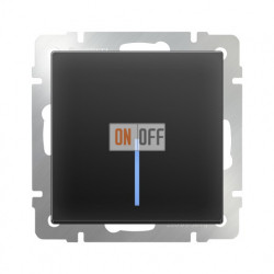 Выключатель одноклавишный проходной (из 2-х мест) с подсветкой  10 AX - 250 В, Werkel черный матовый a051609