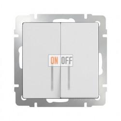 Выключатель двухклавишный проходной (из 2-х мест) с подсветкой 10 AX - 250 В, Werkel белый a051112