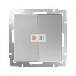 Выключатель двухклавишный проходной (из 2-х мест) 10 AX - 250 В, Werkel серебряный a051509