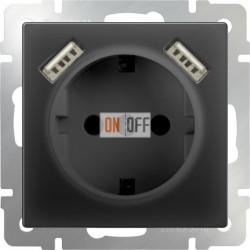 Розетка с заземлением, шторками и USBх2, 16 A - 250 В, винтовой зажим, Werkel черный матовый a051617