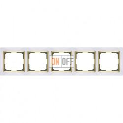 Рамка пятерная Werkel Snabb, белый/золото a035257