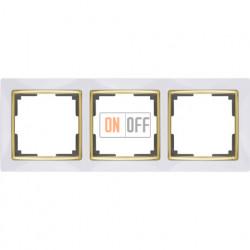 Рамка тройная Werkel Snabb, белый/золото a035254