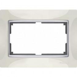 Рамка для двойной розетки Werkel Snabb, слоновая кость/серебро a033482