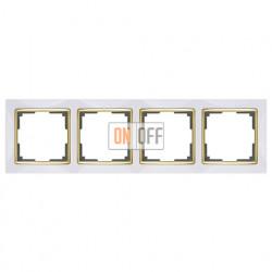 Рамка четверная Werkel Snabb, белый/золото a035255