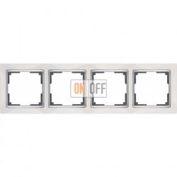 Рамка четверная Werkel Snabb, белый/серебро a028883